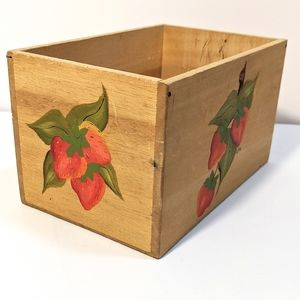 Vintage Wooden Box with Hand Painted Strawberries